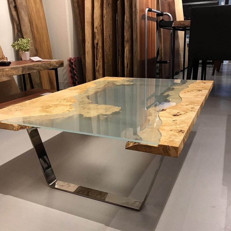 ポプラ一枚板リバーローテーブル