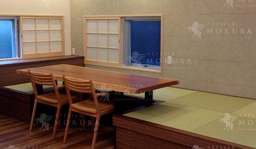 チェリー一枚板テーブル、タモ一枚板座卓