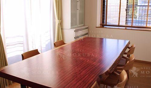 パープルハート一枚板ダイニングテーブル