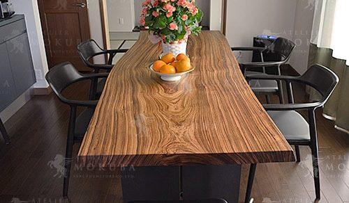 ゼブラウッド一枚板ダイニングテーブル