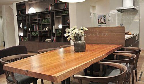 モンキーポッド一枚板座卓、スギ一枚板ダイニングテーブル