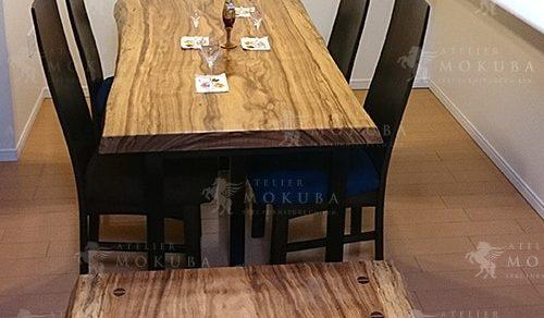 ベリ一枚板ダイニングテーブル、ベンチ