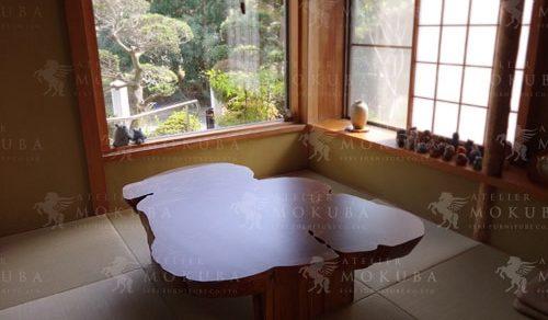屋久杉の味わいあるカタチが魅力的な座卓