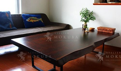 アフリカンチーク一枚板のダイニングテーブル