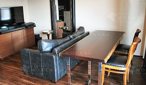 ウェンジ一枚板ダイニングテーブル