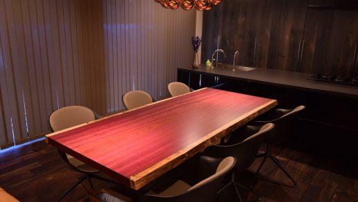パープルハートダイニングテーブル