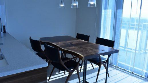 ウォールナットダイニングテーブル モンキーポッドデスク ハッジコレクション絨毯