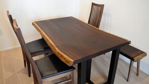 ウェンジ 一枚板 ダイニングテーブル、ベンチ