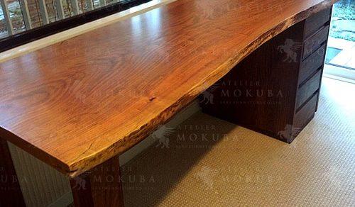 ブビンガ、ウォールナット、山桜一枚板ダイニングテーブル、ベンチ