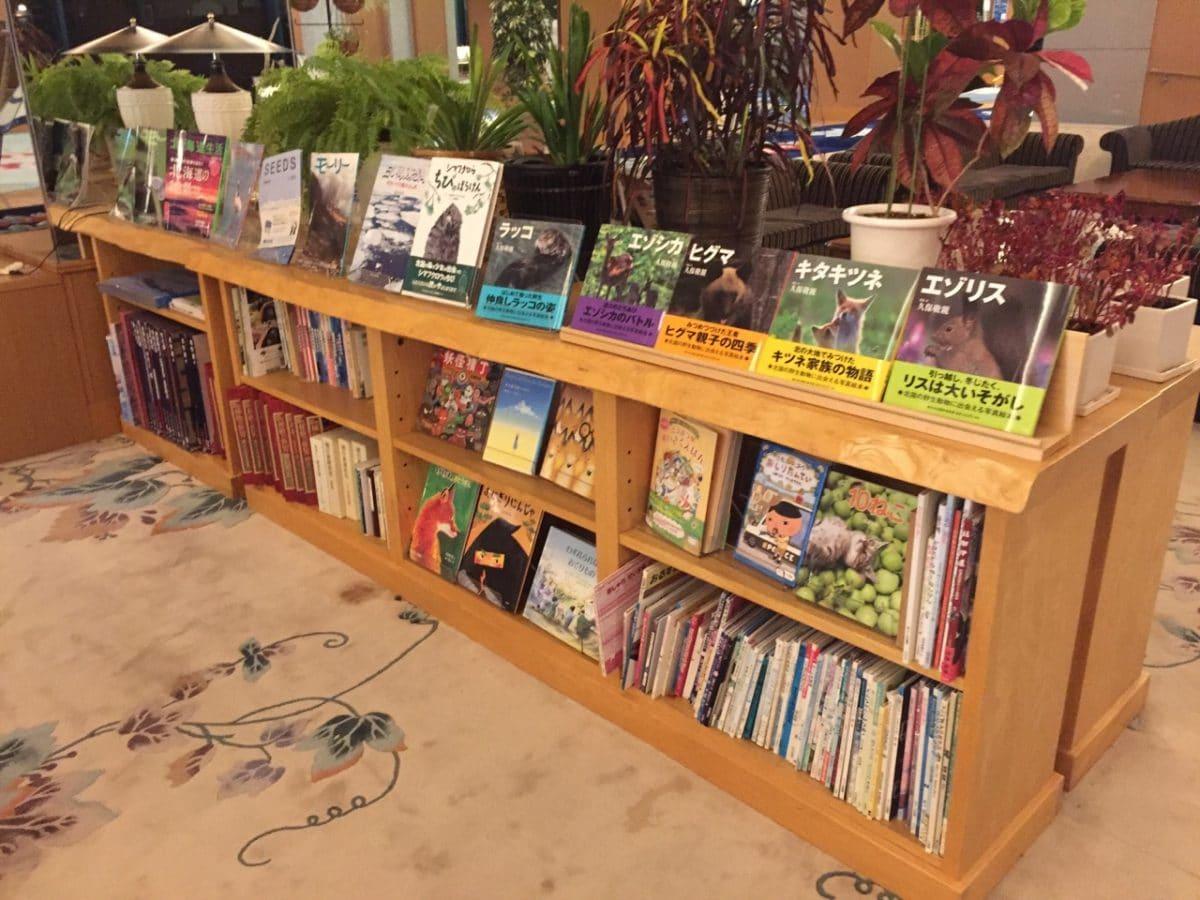 センの木でできた本棚